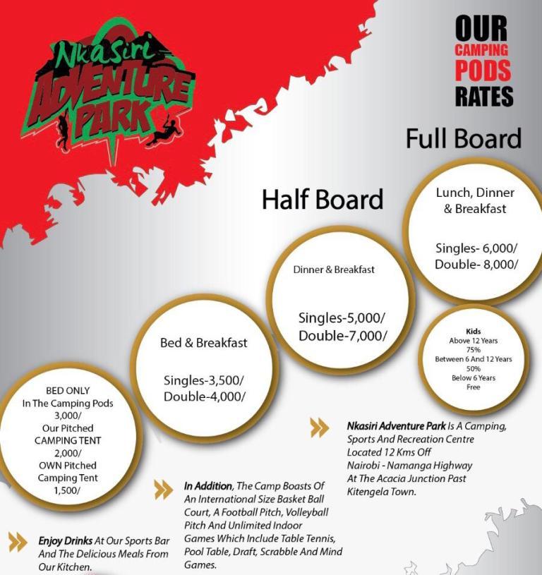 Nkasiri Adventure park rates
